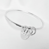 Sterling Silver Hammered Bangle. Personalised Silver Bangle. Silver Bracelet,