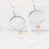 Sterling Silver Heart  Earrings. Rose Gold and Silver Heart Hoops