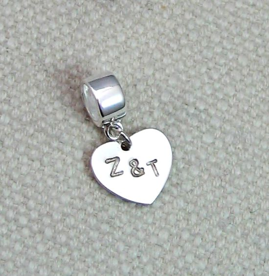 Sterling Silver Personalised Heart Charm Letter Initial On Carrier Bead