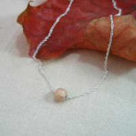 9ct Gold Sparkle Bead & Sterling Silver Necklace