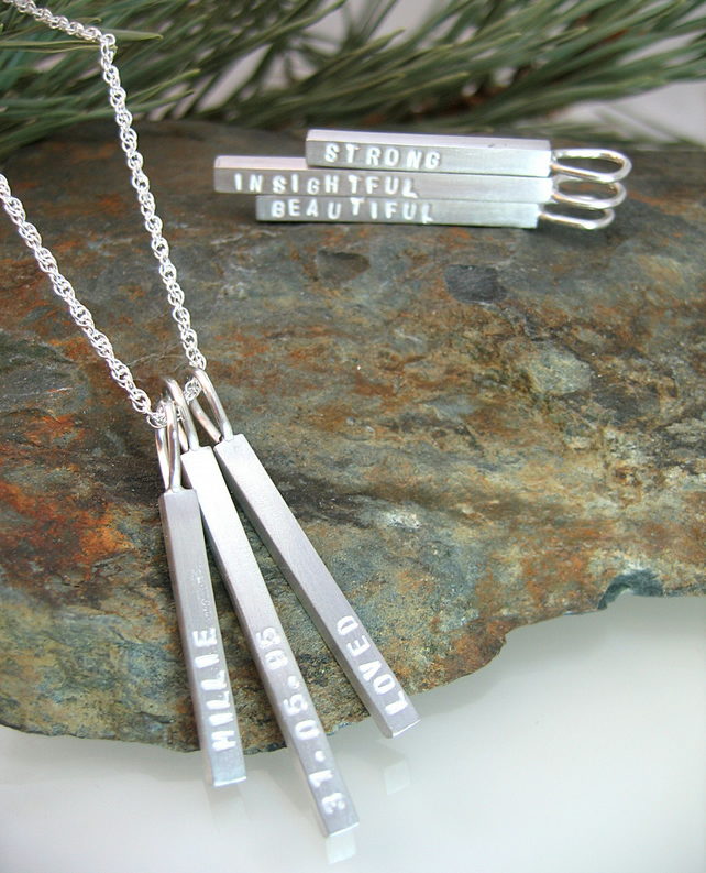 U & Me Personalised Sterling Silver Multi Bar Pendant Necklace