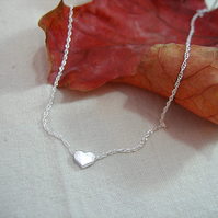 Small Sterling Silver Heart Necklace - Option to Personalise with Initial