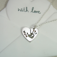 Small Sterling Silver Handprint Charm Pendant Necklace