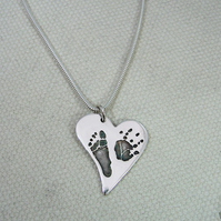 Medium Sterling Silver Handprint Charm Pendant Necklace