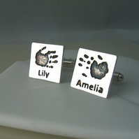 Sterling Silver Square Handprint Footprint Cufflinks