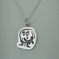 Your Child's Hand Drawn Art Doodles on a Sterling Silver Charm Pendant Necklace
