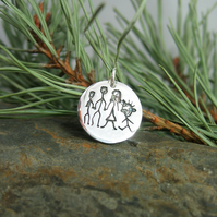 Your Child's Hand Drawn Art Doodles on a Sterling Silver Charm - Medium