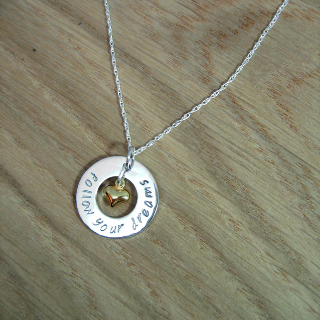 Sterling Silver Personalised Washer Ring Necklace - 20mm - with Gold Heart Charm