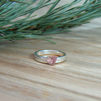 Sterling Silver Stacker Ring with Copper Heart