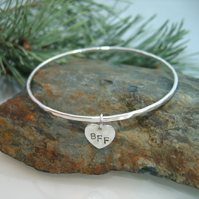 Sterling Silver Personalised Heart Bangle - Handmade - Initials or Date