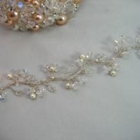 41cm Crystal & Pearl Bridal Hair Vine - Silver or Gold Plated Wire