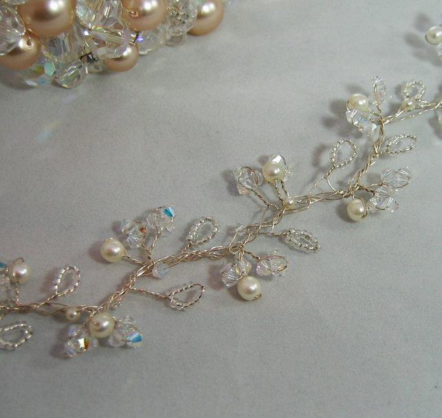 36cm Crystal & Pearl Bridal Hair Vine - Silver or Gold Plated Wire