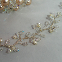 66cm Crystal & Pearl Bridal Hair Vine - Silver or Gold Plated Wire