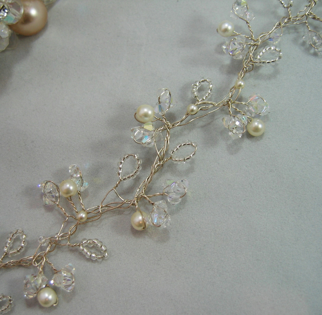 26cm Crystal & Pearl Bridal Hair Vine - Silver or Gold Plated Wire