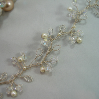 71cm Crystal & Pearl Bridal Hair Vine - Silver or Gold Plated Wire