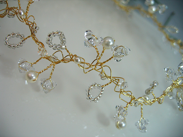 86cm Crystal & Pearl Bridal Hair Vine - Silver or Gold Plated Wire