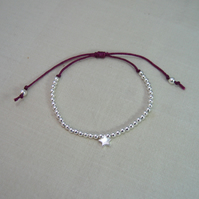 Sterling Silver Star & Bead Friendship Bracelet - Adjustable - Colour Options