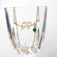 Gold Love Bird Necklace with Swarovski Crystal Drop - Various Crystal Colours