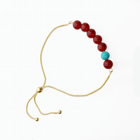 9ct Gold Lucky 7 Bracelet with Carnelian & Turquoise Semi-Precious Beads