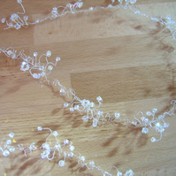 35cm Long Crystal Bridal Wedding Hair Vine - Silver or Gold Plated Wire