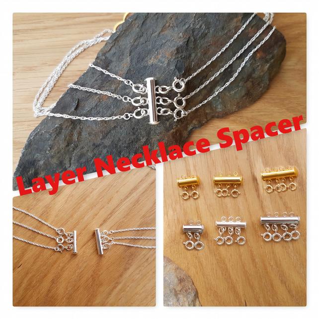2 Row Silver Layer Necklace Spacer Clasp, No More Tangled Multi Layered Chain