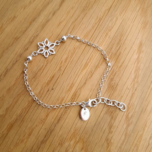 Sterling Silver Flower Chain Bracelet with Personalised Tag - Girls or Ladies