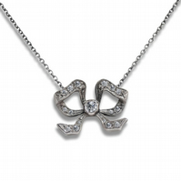 18ct White Gold Vintage Handmade Diamond Bow Necklace