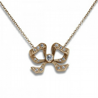 18ct Yellow Gold Vintage Handmade Diamond Bow Pendant