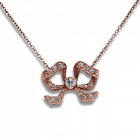 18ct Rose Gold Vintage Handmade Diamond Bow Pendant