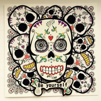 Be Yourself - SKULLS Card with Diamante