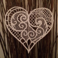 FSL White Lace Victorian Heart Hanging Decoration