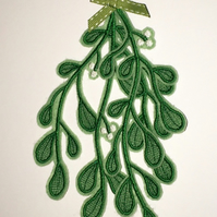 Mistletoe - Hanging Embroidered Sprig