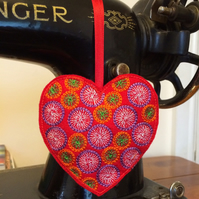 Red Embroidered Hanging Heart