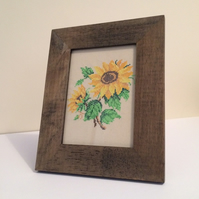 Cross Stitch Embroidered Sunflowers - Framed