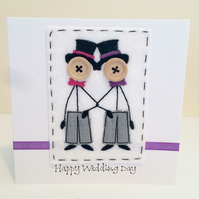 Mr & Mr - Happy Wedding Day - Embroidered Card