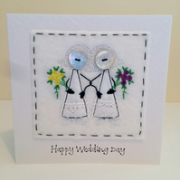 Mrs & Mrs - Happy Wedding Day - Embroidered Card