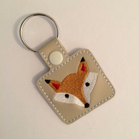 Arctic Fox Keyring - Fox Keyring - Fox Gift - Embroidered Keyring