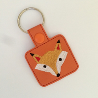 Fox - Fox Keyring - Fox Gift - Embroidered Keyring
