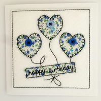 Happy Birthday - Hearts Embroidered Card