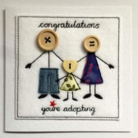 Adoption Celebration Card - Ma, Pa & Girl