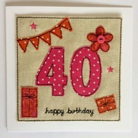 40th - Age 40 Happy Birthday Card