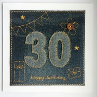 30th - Age 30 Birthday Card - 30th Card - Personalised Card - Denim - Age 30