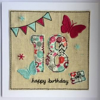 18th - Age 18 Birthday Card - 18th card - Ages 15 to 18 Textile Birthday Card