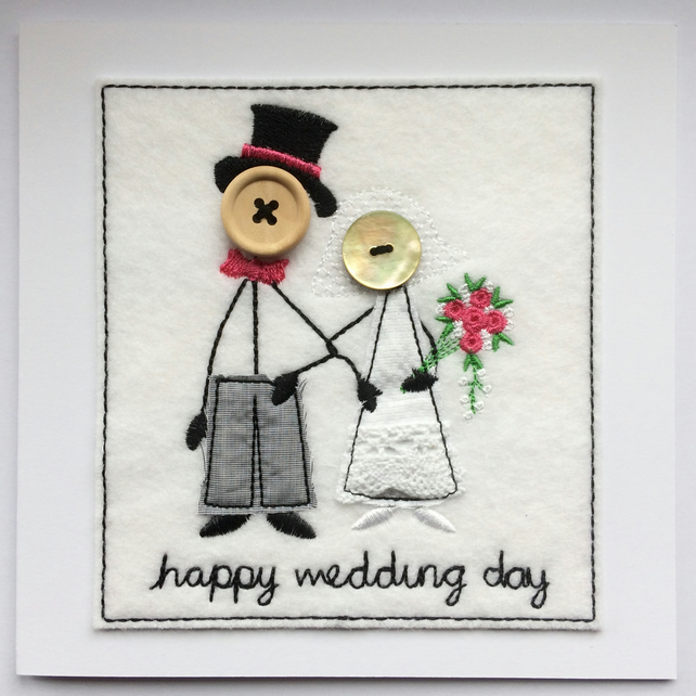 Mr & Mrs - Happy Wedding Day - Embroidered Card