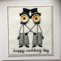 Mr & Mr Card - Happy Wedding Day - Button Card - Embroidered Card