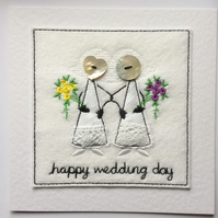 Mrs & Mrs Wedding Card - Happy Wedding Day - Button & Embroidered Card