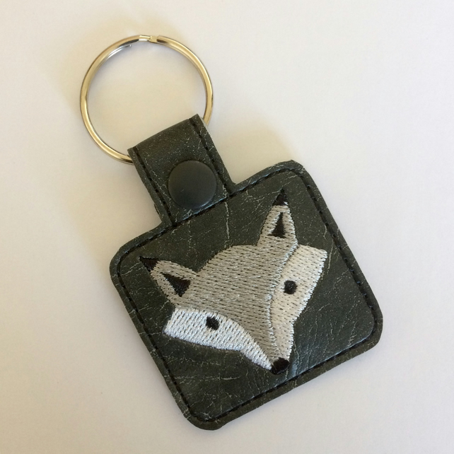 Silver Fox - Embroidered Keyring