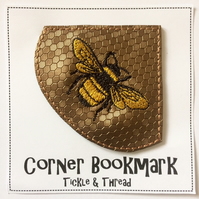 Bee Bookmark - Stitched Corner Bookmark - Bee Gift - Bees Bookmark - Bees