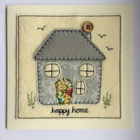 Happy Home Card - Grey - New Home Card - Moving Home Card - Textile Card