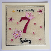 Princess Crown Birthday Card - Personalised with Name & Age
